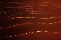 3d rendering abstract polygonal wave background with connecting dots and lines. Connection structure. Computer HUD. Flow. Wave. Red Lines and dots Royalty Free Stock Photography