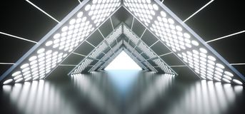 Realistic Triangle Sci-Fi Corridor With Lighted Grid Mesh. 3D Rendering Of Abstract Realistic Triangle Sci-Fi Corridor With Lighted Grid Mesh Royalty Free Stock Images