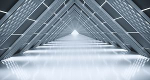 Triangle Sci-Fi Corridor With Lighted Grid Mesh. 3D Rendering Of Abstract Realistic Triangle Sci-Fi Corridor With Lighted Grid Mesh Stock Photos