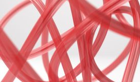 3D Rendering Of Abstract Red Glass Knots. Closeup Stock Photo