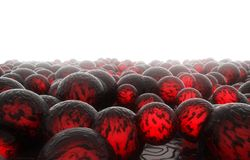 3d balls lava color. 3d rendering of abstract scattering surface balls lava color Stock Photos