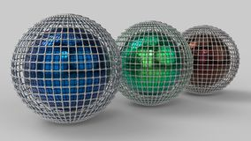 3d rendering. Abstract 3d shapes. Balls on a background. Abstract. 3D rendering. 3d image Royalty Free Stock Images