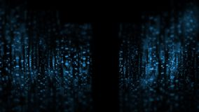 3D Rendering of abstract technology background. Wide screen wallpaper. Computer circuit dots and blur binary data. For deep machine learning, crypto currency stock illustration