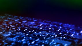 3D Rendering of abstract technology background. Wide screen wallpaper. Computer circuit dots and partial blur grid data. For deep machine learning, crypto royalty free illustration