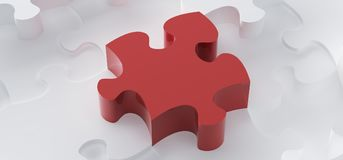 Abstract White Puzzle Pieces Top View. 3D Rendering Of Abstract White Puzzle Pieces With One Red In The Middle vector illustration