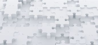 Abstract White Puzzle Pieces Top View. 3D Rendering Of Abstract White Puzzle Pieces Top View stock illustration
