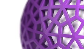 3D Rendering Of Abstract Wireframe Sphere. Closeup On White Background Stock Photo
