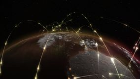 3D rendering abstract of world network, internet and global connection concept. 3D rendering abstract concept of global network. Internet and global Royalty Free Stock Photo