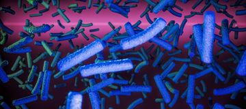 3D rendering. The accumulation of bacteria. A lot of stylized microorganisms in organic fluids. Infectious diseases in winter. The fight against viral diseases Royalty Free Stock Photo