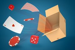 3d rendering of ace of hearts, red dice, and red chips flying out of brown cardboard box on blue gradient background. Gambling. Addictive games. 3D design stock photography
