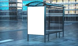 Advertising white template on bus stop. 3d rendering advertising white poster on bus stop Royalty Free Stock Photography
