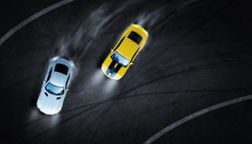 3D rendering aerial top view two cars drifting battle the night time on race track stock photos
