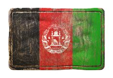 Old Afghanistan flag. 3d rendering of a Afghanistan flag over a rusty metallic plate. Isolated on white background stock illustration