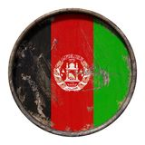 Old Afghanistan flag. 3d rendering of an Afghanistan flag over a rusty metallic plate. Isolated on white background Royalty Free Stock Photos
