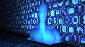 3D Rendering AI/Human Hologram projected from Smartphone on the floor with Business icon Background and Binary Code in blue color