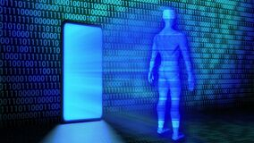 3D Rendering AI/Human Hologram projected from Smartphone leaning against the wall with Randomized Binary Code Background in blue
