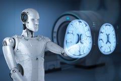 Robot analyze x-ray brain. 3d rendering ai robot analyze x-ray brain tomography vector illustration