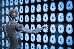 Robot analyze x-ray brain. 3d rendering ai robot analyze x-ray brain tomography stock illustration