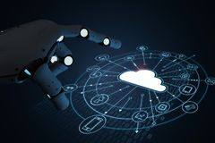 Robot with cloud computer. 3d rendering ai robot with cloud computing and technology icons stock images