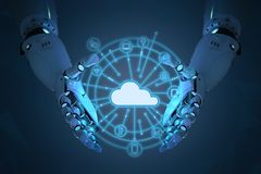 Robot with cloud computer Stock Image