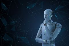 Ai robot thinking. 3d rendering ai robot think or compute stock photography