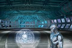 3D rendering of AI robots in a space laboratory - perfect for a futuristic concept