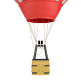 3d rendering of an air balloon basket with gas burners isolated on white background. Air travel. Hot air balloons. Sightseeing and travelling Royalty Free Stock Photo