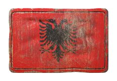Old Albania flag. 3d rendering of an Albania flag over a rusty metallic plate. Isolated on white background Stock Photography
