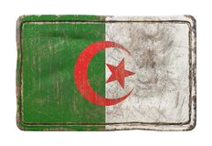 Old Algeria flag. 3d rendering of an Algeria flag over a rusty metallic plate. Isolated on white background Royalty Free Stock Photography