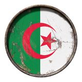 Old Algeria flag. 3d rendering of an Algeria flag over a rusty metallic plate. Isolated on white background Royalty Free Stock Image
