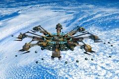 Alien spaceship invading Earth Royalty Free Illustration