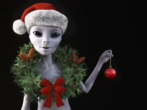 3D rendering of an alien wearing a Santa hat. 3D rendering of a smiling alien wearing a holiday wreath and Santa hat for Christmas. Black background Royalty Free Stock Image