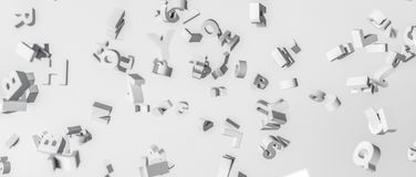 3D rendering. Alphabet disintegrated in the air. Letters flying in space. The Latin alphabet in the form of voluminous letters. For illustration of stock illustration