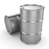 3D rendering aluminum barrel. On a white background stock illustration