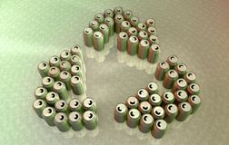 Aluminum cans forming the recycle symbol Royalty Free Stock Image