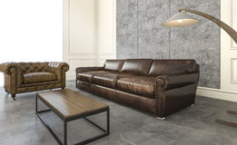 3d rendering amazing leather sofa in loft living room. 3d rendering beautiful exterior twin house Royalty Free Stock Photography