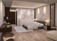 3d rendering amazing white dress room3d rendering night bedroom with parquet floor Stock Photos