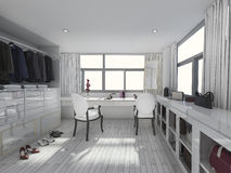 3d rendering amazing white dress room. 3D Interior rendering by 3ds max Stock Photo