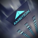 3D rendering of Ambition elevator. 3D rendering of an elevator with written ambition Royalty Free Stock Photos
