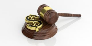 3d rendering american dollar symbol and an auction gavel. 3d rendering golden american dollar symbol and an auction gavel Stock Photo