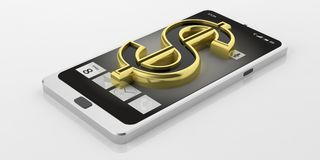 3d rendering american dollar symbol on a smart phone. 3d rendering golden american dollar symbol on a smart phone Stock Images