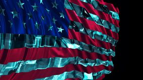 3d rendering of american flag made in cyber style. The flag develops smoothly in the wind royalty free stock photo