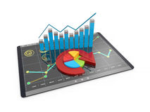 3D Rendering analysis of financial data in charts - modern graphical overview of statistics. 3D Rendering analysis of financial data in charts, accounting Stock Image