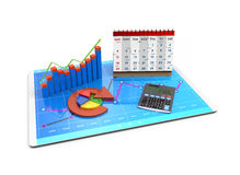 3D Rendering Analysis of financial data in charts - modern graphical overview of statistics Stock Photography