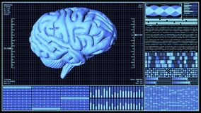 3D Rendering Anatomical Brain Rotating in Futuristic Brain Analysis Technology HUD concept including many digital elements in Blue