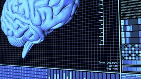 3D Rendering Anatomical Brain Rotating in Futuristic Brain Analysis Technology HUD concept in Blue Color camera panning