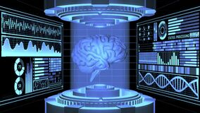3D Rendering anatomical Realistic Brain in Futuristic Laboratory and Digital HUD screens aligned in 3D space background