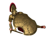 3D Rendering Ancient Greek Soldier on White Stock Image