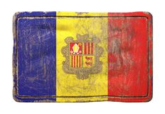 Old Andorra flag. 3d rendering of an Andorra flag over a rusty metallic plate. Isolated on white background Stock Image