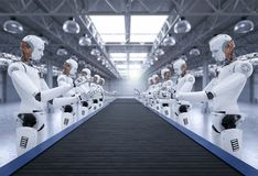 Robot assemble line. 3d rendering android robot assembly line with conveyor line Royalty Free Stock Image